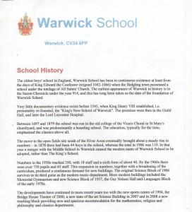 warwick school history